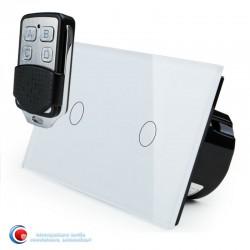 Intrerupator touch cu doua pozitii si telecomanda - alb