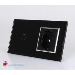 Intrerupator standard cu priza schuko - negru