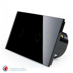 Intrerupator touch cu trei pozitii - negru