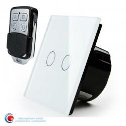 Intrerupator touch dublu standard cu telecomanda - alb