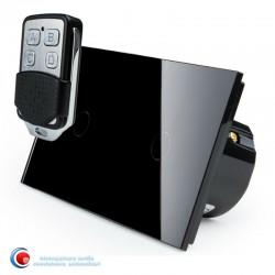 Intrerupator touch cu doua pozitii si telecomanda - negru